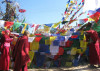 Tibetan nuns hanging prayer flags  in Dharamsala, India, seat of the Tibetan Government in Exile, and home of His Holiness the Dalai Lama and a thriving refugee community.