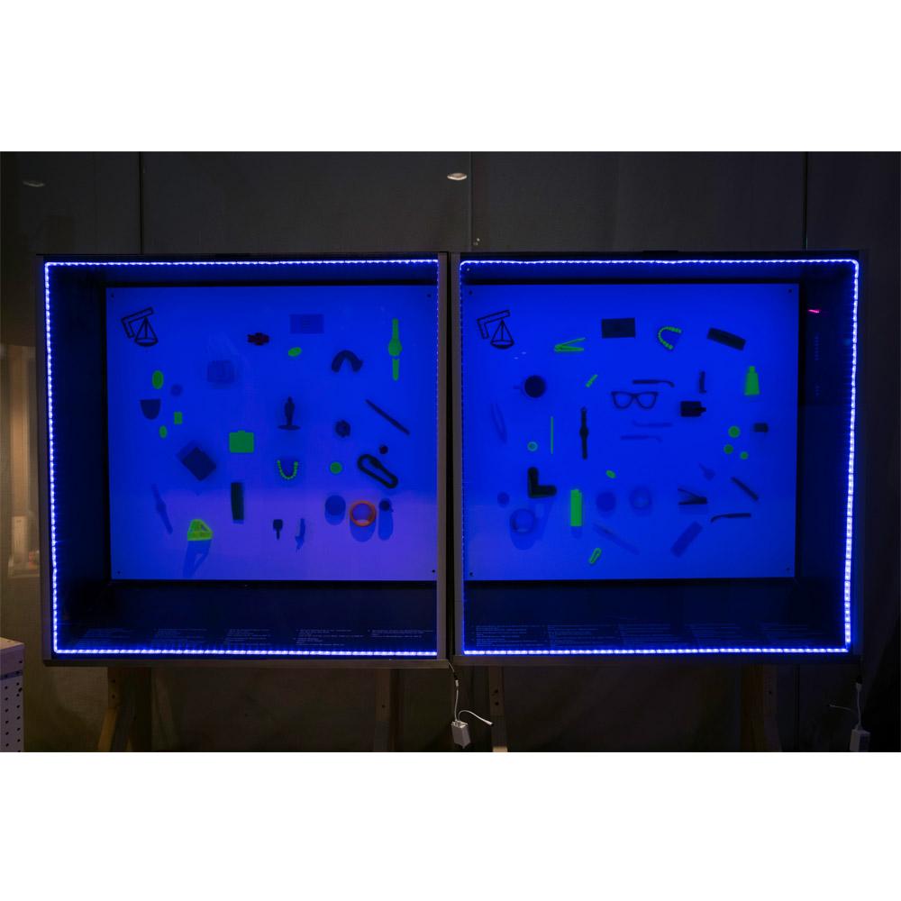 "<p>Bureau of Borrowed Objects, Museum display case, PLA plastic models, led light, vinyl. 36"" x 13""x 50"" each, 2013</p>"